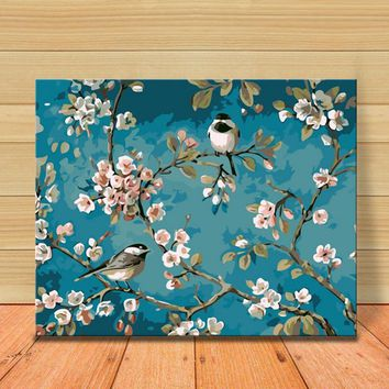 Birds And Flower DIY Painting By Numbers Kits Drawing On Canvas Home Wall Art Decor Handpainted Painting For Artwork