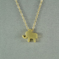 Gold Baby Elephant Necklace, 14K Gold Filled Chain, Simple, Cute, Delicate, Pretty Necklace, also in Silver