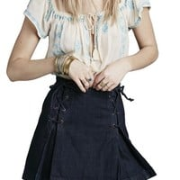 Free People Lace-Up Denim Skirt | Nordstrom