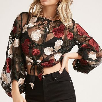 Sheer Floral Puff-Sleeve Top