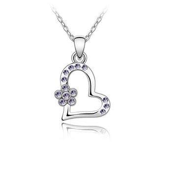 Warehouse Direct Sale Heart Necklace Pendants Link chain necklace Forever Love Women's Crystal Flower Heart Shape