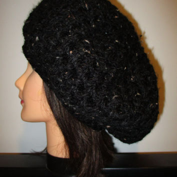 Black tweed slouchy crochet beanie