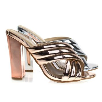 Shine91 Rose Gold By Forever Link, Chunky Block Heel Slipper Mule, Metallic Party Sandal w Padded Strap