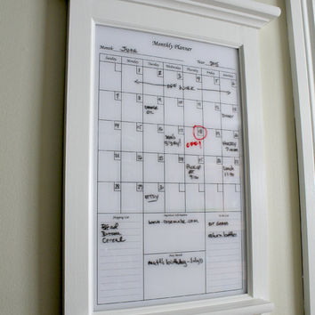 Wall Decor White Dry Erase Calendar Family Kitchen or Home Decor Office Organizer Monthly Planner with shelf and key hooks