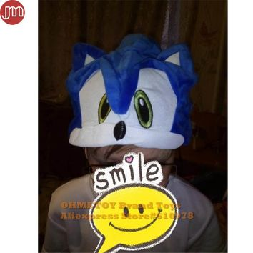 OHMETOY Sonic The Hedgehog Fleece Cosplay Hat For Kids Over 5 Years Old Teenagers Plush Cap Birthday Gift Blue In Stock