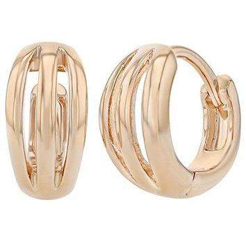 Rose Gold Plated Small Open Stripes Hoop Huggie Womens Earrings 039quot