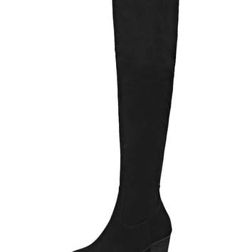 Black Suedette Block Heeled Over The Knee Boots