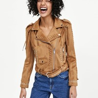 FAUX SUEDE JACKET WITH FRINGEDETAILS