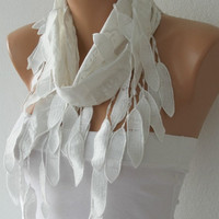 Cotton Scarf ,  Cotton Shawl  Cowl Scarf lace scarf - white - fatwoman - Bridesmaids Gifts