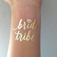 Gold Metallic Flash Bachelorette Tattoos, Bride Tribe