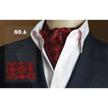 ONETOW High Grade Men Wedding Formal Cravat Ascot Scrunch Self Ties Gentleman Polyester Silk Scarves Neck Tie Luxury Paisley Pattern