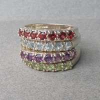 Set of 4 Vintage Gemstone Sterling Silver Stacking Rings, Size 10, Garnet, Topaz, Peridot, Amethyst
