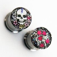 Glamsquared — Skull and Flowers Night Sky Reversible Plugs