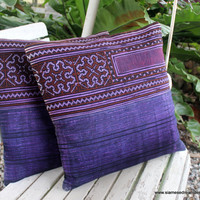 "Purple Ethnic Hmong Embroidery and Batik 16 ""  Decorative Throw Pillow Cushion Cover"
