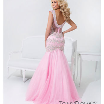 (PRE-ORDER) Tony Bowls 2014 Prom Dresses - Pink Beaded Sweetheart Mermaid Tulle Gown