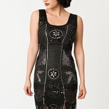 Deco Black and Silver Flapper Dress