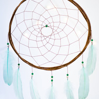 Dreamcatcher Mint Green Feathers - Boho Girls Boys Dreamcatcher Wall Hanging Baby Tribal Crib Baby Feathers New Baby nursery