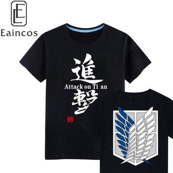 Cool Attack on Titan High Quality  no  Scout Legion Tee Shirts Cosplay Costume Black Pure Cotton Casual T-shirts Tops AT_90_11