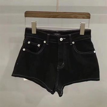 """""""Chanel"""" Women Fashion All-match Casual Simple Solid Color Denim Shorts"""