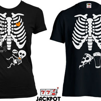 Maternity Matching Halloween Shirts Pregnancy Halloween Costume Baby Boy Maternity Skeleton T Shirt Beer Skeleton Ribcage T Shirt MD567-555B