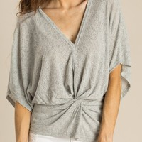 Denise Grey Twist Knit Top