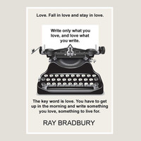 print, Ray Bradbury, quote, poster, black, white, dorm decor, graphic art, writer gift, philosophy