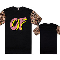 Odd Future OF Donut Leopard Sleeve Black T-Shirt