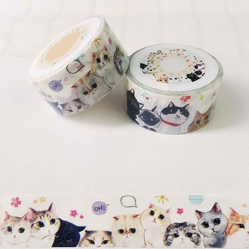 2cm*7m cat washi tape sticker kawaii stationery scrapbooking planner masking tape office adhesive tape label DIY decoration tape
