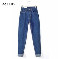2017 Vintage Black Boyfriend Jeans For Women High Waist Denim Jeans Vintage Slim Mom Pencil Jeans Woman Denim Pants