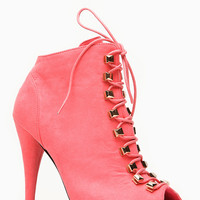 Liliana Boho Peep Toe Lace Up Coral Bootie