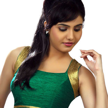 Exquisite Green Silk Party-Wear Sari Blouse SNT-X-257-NS