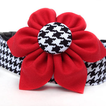 Houndstooth Dog Collar & Flower / Black and White Houndstooth Dog Collar with Flower