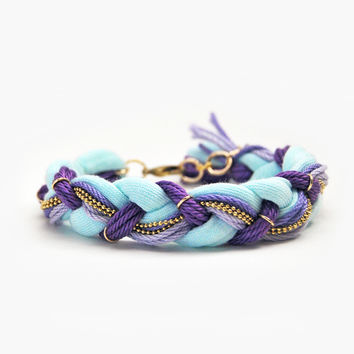 Mint and lilac braid bracelet, friendship bracelet