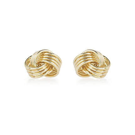 gold tone knot stud earrings