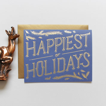 Gold Foil Pine Boughs Holiday Card