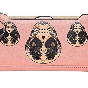 Badiya 3 Pretty Sugar Skull Wallet for Women Vintage Clutch Bag