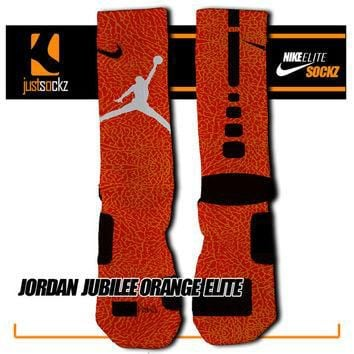 JORDAN JUBILEE ORANGE Elite Custom Nike Elite Socks 23 Chicago orange