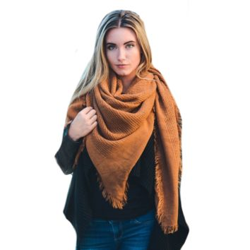 Warm Rust Open Weave Square Scarf / Blanket