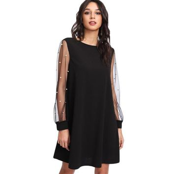 Elegant Womens Dresses Pearl Beading Mesh Sleeve Tunic Dress Autumn