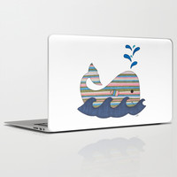 Striped Whale Laptop & iPad Skin by Erin Brie Art