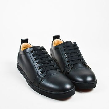 KUYOU Men  s Black Christian Louboutin Leather  Louis Junior  Sneakers