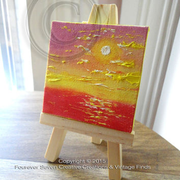 Mini Oil Painting Abstract Painting Original Oil Painting Small Painting Miniature Art Seascape Painting Fine Art Cute Painting Mini Easel