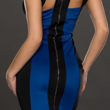 Black and Blue Color Block Sleeveless Cut-Out Bodycon Dress