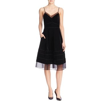 Timo Weiland Womens Velvet Contrast Trim Party Dress