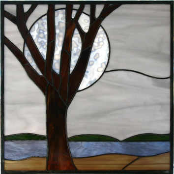 Moon/sun landscape stained glass panel