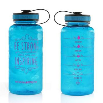 ESBONIS 34oz Motivational Bottle Fitness Workout Sports Water Bottle with Unique Timeline | Measurements | Goal Marked Times For Measuring Your Daily Water Intake, BPA Free Non-toxic Tritan
