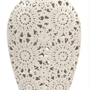 Vase - Matte White Lace Pattern