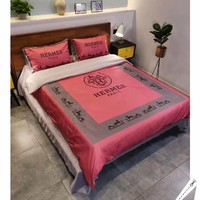 HERMES Stylish Fashion Modal 4 Pieces Sheet Set Blanket For Home Decor Bedroom Living Rooms Sofa