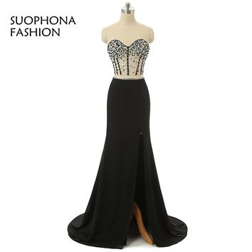 New Arrival Two piece Prom dresses Long 2017 Chiffon Saudi Arabic evening dress Plus size Full Beaded vestido de festa