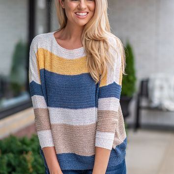 Autumn Wishes Striped Dolman Sweater : Navy/Yellow